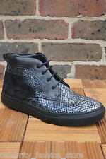 H by Hudson Dellen Snake Black Lace Sneakers Ankle Platform Trainer Boots 5 38