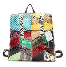 2018 Fashion vintage colorful genuine leather patchwork hasp shoulder backpack