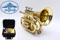 Pocket Trumpet for Sale Brass Concert Bb Nice Pitch Professional W/Hard Case