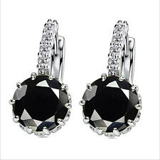 Fashion Woman Multicolor Silver Plated Cubic Zirconia Stud Hoop Earrings Jewelry