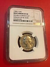 1980 P 25 CENTS MINT ERROR XF 40 DOUBLE CURVED CLIP MINOR CLIP @ 10:00