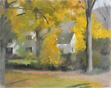 PERCY LEASON (1889-1959) RARE Original Oil Painting Fall In New England USA 1950
