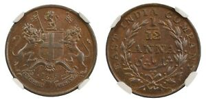 British India - East India Company 1/12 Anna 1835 (M) KM# 445 NGC MS 62 BN