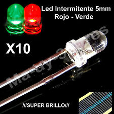 10 Diodos Led Intermitentes 5mm Verde Rojo - Green Red + Resistencias Arduino