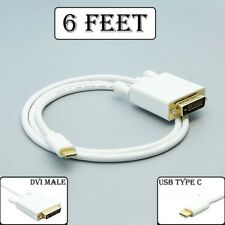 6Ft USB-C 3.1 Type C to DVI M/M Cable 1080p HDTV Monitor MacBook Galaxy S8/Note7
