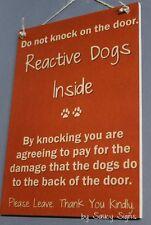 Reactive  Dogs Do Not Knock Doorbell Brown Wooden Door Welcome Warning Sign