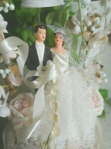 Vintage Wedding Cake Topper, Bridal couple Hand Painted Lace Paper Satin Flowers