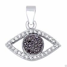 Evil Eye Pendant Cubic Zirconia Sterling Silver 925 Hamsa Jewelry Gift 12mm