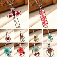 Charm Natural Dried Real Rose Flower Cross Glass Pendant Necklace Sweater Chain