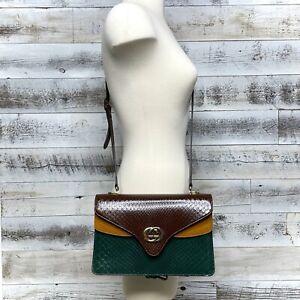 Gucci Brown GG Python Leather Shoulder Bag Green Yellow Accordion Purse 550131