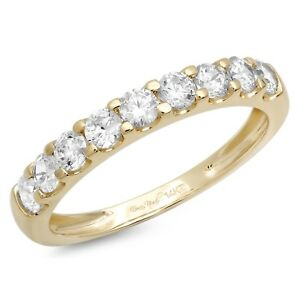 1ct Round Cut Stackable Bridal Wedding Petite Anniversary Band 14k Yellow Gold