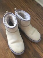 Ugg Classic Short Mini Bow Swarovski Women Suede Winter Boots 7 Lilac Shearling