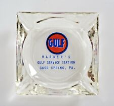 """VINTAGE GASOLINE TOBACCO  """"GULF"""" Clear GLASS ASHTRAY Harner's Good Springs, PA"""