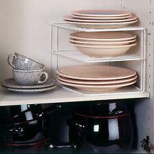 Cupboard Dinner Plate Organiser Space Saving Rack Sturdy 2 Level Shelf Corner