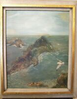 CLASSIC HAWAII BEACH COASTAL SEASCAPE  PRETTY OIL ON CANVAS PAINTING ORIG SIGNED