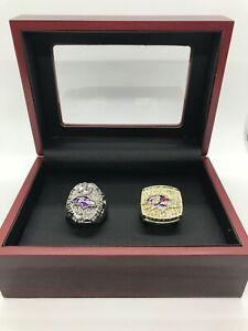 2 Set Baltimore Ravens Super Bowl Championship Ring Set with Wooden Display Box