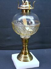 Round Font Pressed Glass Whale/Kerosene/Oil Lamp with Marble Base