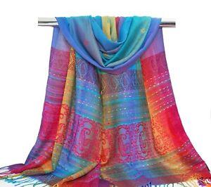 Women Rainbow Scarf Bohemian Scarf Border Shawl Aqua Blue Pink Hippie Stole Wrap
