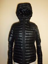 Adidas Black Shiny Puffer Jacket Coat Outdoor Light Down Hooded Womens S Small