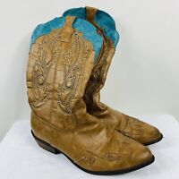 Coconuts Cimmaron Size 10 Brown Teal Trim Cowboy Boots Cowgirl Western