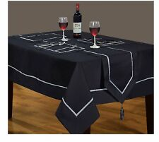 "Large Rectangular Black/Silver Xmas Tablecloth 70"" x 108(178cm x 275cm)"