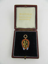 Con montante 9 KT Oro & Smalto ESPOSIZIONE ELETTRICO OLYMPIA 1911 MAGNETE a forma di Medaglia