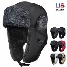 Earflap Trapper Bomber Aviator Russian Trooper Fur Winter Ski Hat Mens Womens