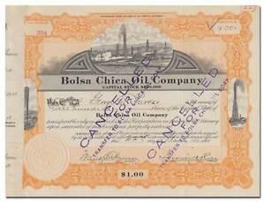 Bolsa Chica Oil Company Stock Certificate (Huntington Beach, California)