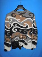 Lanart XL Peru Alpaca Gray Black Brown Cardigan Sweater Button Swirl Knit Woman