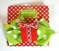 Mud Pie Santa Baby Christmas Holiday Hair Bow Clip Green Polka Dot