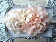 Baby Toddler Girl Vintage Headband 3 months to 5 years Ivory