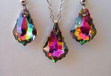 Swarovski Elements Crystal in Vitrail Medium  Pendant Necklace and Earring Set