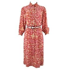 Vintage Handmade Coral Pink Red Floral Pure Silk Midi Wiggle Modest Shirt Dress