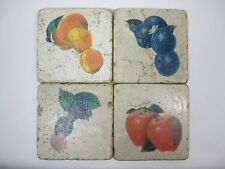 Tumbled Distressed Square Stone Coasters Country Home Fruit Theme Cork Bottom