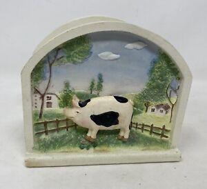 Ceramic Letter Rack/Holder 3D Farmyard Scene Black & White Pig Countryside Mail