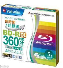 5 Verbatim Blu Ray BD-R DL 4x Speed Rohlinge 50GB Inkjet Printable Bluray Discs
