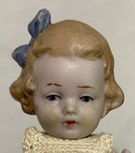 """Antique 5"""" All Bisque Gebruder Heubach Mignonette Dollhouse Doll w/ Bow Germany"""