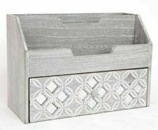 Grey Wooden Shabby Chic Letter Tidy With Drawer Geometric Pattern 26cm