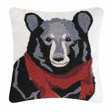 "Welcome Friends Hooked Bear Toss Pillow 18"" Square Bear with Red Scarf C & F"