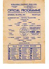 Aldershot v Crystal Palace Reserves Programme 13.4.1957 Football Combination
