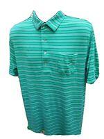 Peter Millar Golf Polo Shirt Short Sleeve Cotton  Green Striped Mens Size Large