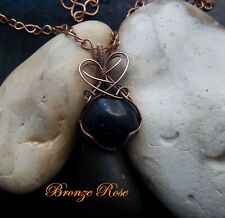 Handmade OOAK copper wire wrapped blue goldstone necklace