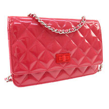 CHANEL 2.55 CC Chain Shoulder Wallet Bag Pink Patent Leather 20910820 NR10871c
