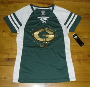 NWT Women's NFL Majestic Green Bay Packers Green/White Sequin Jersey Top Sz M