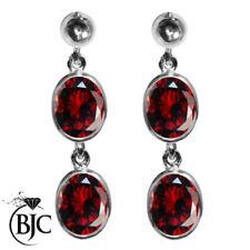 Orecchini di lusso con gemme rosse pendente in argento sterling