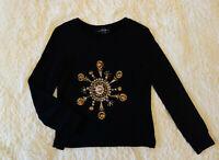 Alexander McQueen 800$ black embellished gold metal beaded black sweatshirt S