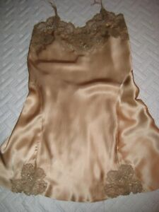 Vtg ?.Vtg Style MARY GREEN PALE GOLD 100% SILK / LACE SHORT NIGHTGOWN /SLIP M 34