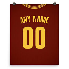 Cleveland Cavaliers Jersey Poster - Personalized Name & Number Free Us Shipping