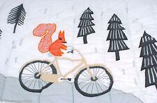 "Croft & Barrow Nursery Baby Quilt Woodland Critters on Bikes 40"" x 50"" Euc 2779"