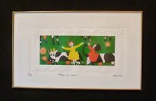 """Signed KIKI Suarez Etching """"Happiness with Cows"""" """"Felices con Vacas"""" 1991 300 ed"""